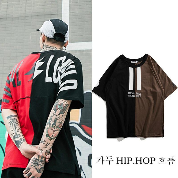 Men's cotton loose short sleeves stitching street clothes hip hop hip hop hip hop casual lovers dress semi-sleeve blouse