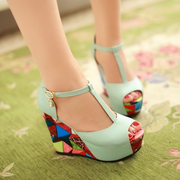 Sandals 2018 Wedge T-strap New PU Woman's Shoes Big 40 41 42 43 44 Small 33 High Heel 11CM Platform 4cm Size 32-45