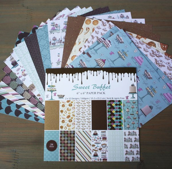 """DIY Photo Album Scrapbooking set Decorative Papers Sweet Buttet Craft paper 6""""inch X 6"""" inch Single Side Printed 24 pcs/Set"""