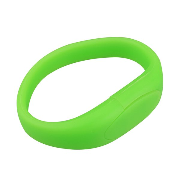 Green Silicon Wristband Design 8GB 16GB 32GB 64GB USB 2.0 Memory Stick USB Flash Drives Thumb Pen Drives for PC Laptop Tablet Thumb Storage
