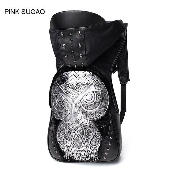 Pink sugao designer backpack Leather backpack designer fashion 3D Owl animal back pack high quality waterproof 2018 fashion men bag