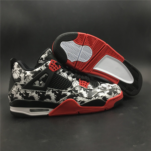 Novità 4 IV Tattoo nero rosso da uomo scarpe da basket sportivo sneakers Comode scarpe da ginnastica top quality size 7-13