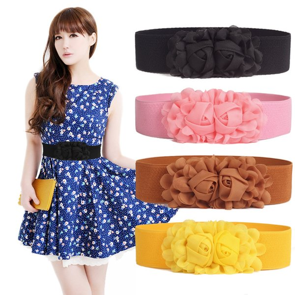 Women's Belt with Double Rose Flowers Elastic Stretch Waist Wide Stretch Waistband for women dress fast free shipping