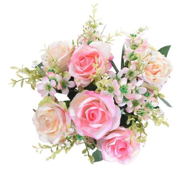 Bouquet di fiori artificiali in 17in rose 12 teste Fiori per decorazioni per feste domestiche Bomboniere 6 fiori rosa e 6 boccioli - rosa