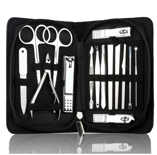 15 em 1 kit de Unha manicure profissional clipper kit alicate de dedo arte unhas ferramentas de beleza tesoura faca melhor presente para você