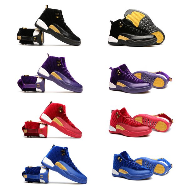 low cost cheap price 2018 New 12 Women Velvet Heiress Basketball Shoes 12s XII GS Black Red Purple Blue Gold Velvet Outdoor Sports Training Sneakers Boots latest collections online cheap sale explore ZF1Os9