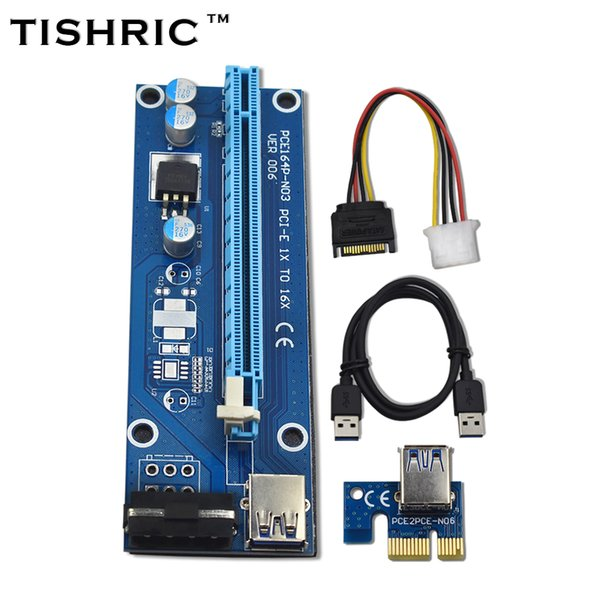 TISHRIC 10pcs Ver006 PCI Express Riser Card 1x To 16x Usb3.0 Cable PCI-E Extender Sata To 4pin Molex Power For Btc Miner Machine