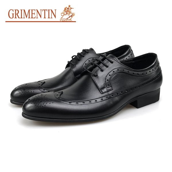 GRIMENTIN Men Dress Shoes 2018 new Italian Designer Black Pointed Toe Formal Business Wedding Shoes Genuine Leather Luxury Male Shoe WF3-10