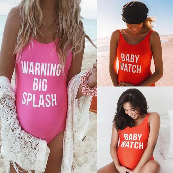 Más el tamaño del reloj de bebé de maternidad traje de baño de playa las mujeres embarazadas traje de baño de una sola pieza traje de baño traje de baño Bikini