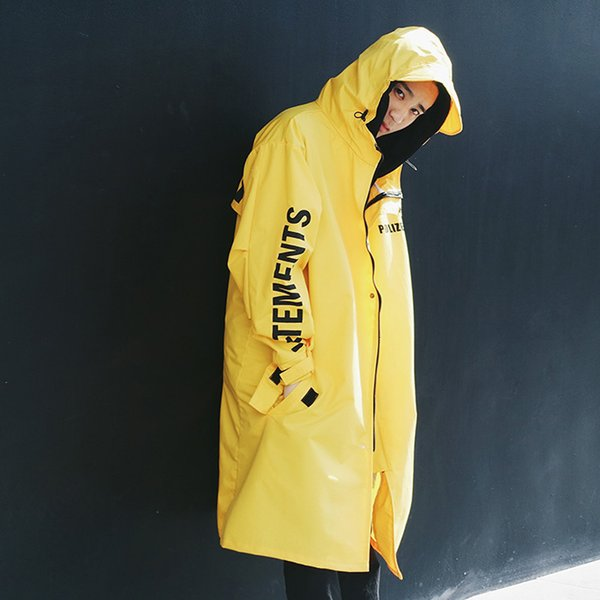 Yellow Letter Long Hooded Windbreaker Black Popular Printed Waterproof Raincoat White Autumn Summer Loose Men's Jacket