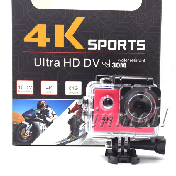 top popular Cheapest 4K Action Camera Waterproof 1080P Sport Camera Wifi 2 inch LCD 7 color with Retail Box 2020
