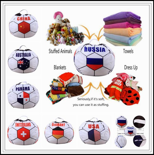 26 inch Russian World Cup Storage Bean Bag Baby Stuffed Animal Football World Cup Pouch Bag Organizer Beanbag CCA9444 30pcs