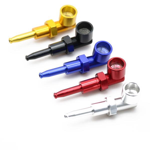 Nova tubulação de Metal charuto erva liga de alumínio tubo de fumo com 5 cores parafuso tubo de tabaco 80mm de comprimento