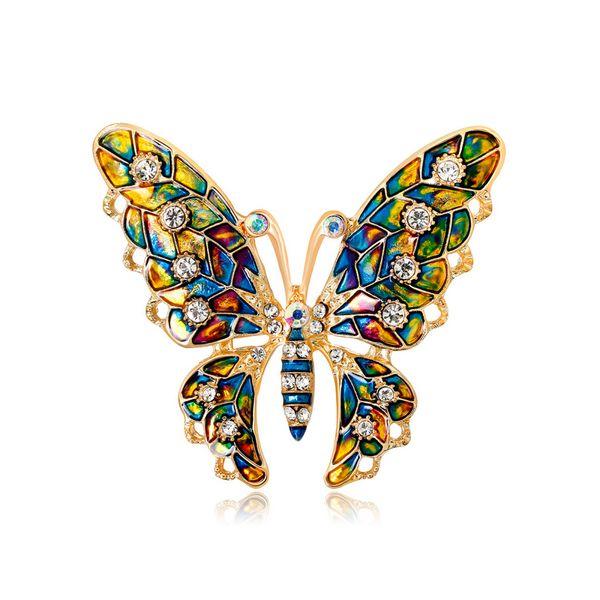Multicolore Rhinrstone papillon broche 5.3 * 4.6 cm femmes filles costume revers bijoux de broche accessoires pour cadeau fête avec livraison rapide