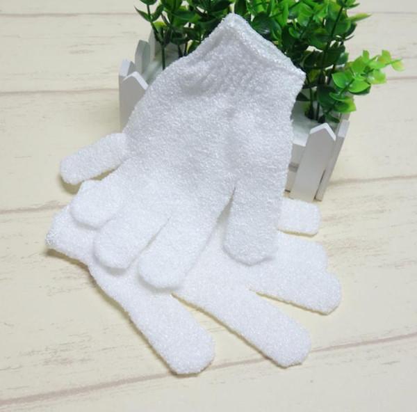 White Nylon Body Cleaning Shower Gloves Exfoliating Bath Glove Five Fingers Bath Gloves Bathroom Supplies 1Pcs SN811