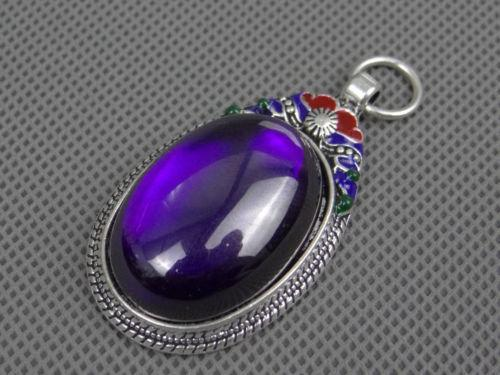 CHINA SILVER OLD INLAY(VIOLET)ZIRCON WONDERFUL CLOISONNE HAND CARVED PENDANT