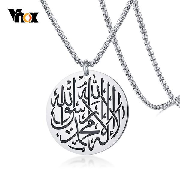 Aço inoxidável dos homens vnox rodada muçulmano shahada islam pingente de colar com caixa de cadeia de prata cor de ouro