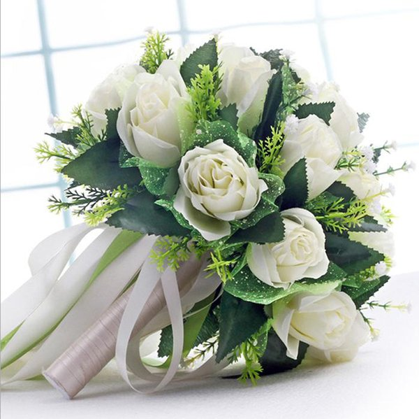 Handmade New Wedding Bridal Bridesmaid Bouquet Bride Bouquets White Green Artificial Rose Flowers Hand Holding Flower Home Decor