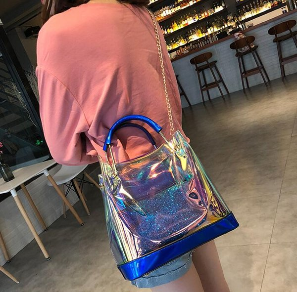 Women Laser handbags Fashion Transparent PU Ladies Composite Bags Hologram Laser Colorful Bag For Girls Small Chain Clutch Crossbody Bags