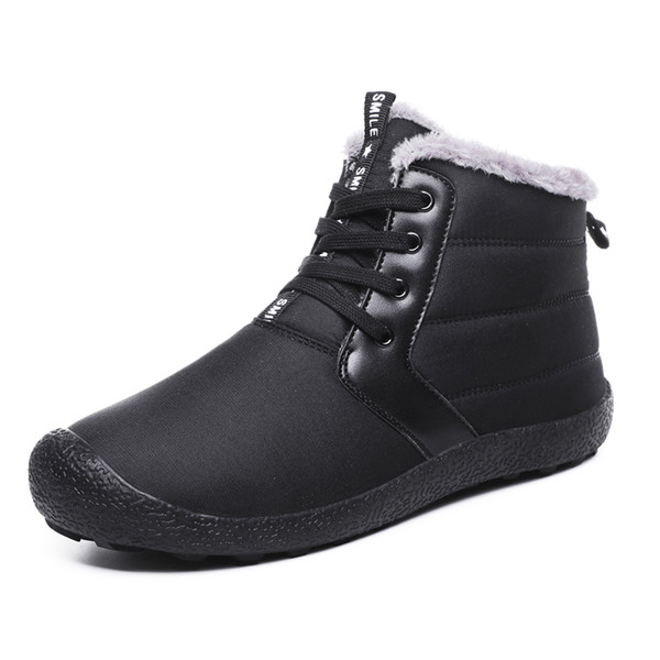 AMSHCA Big Size 39-48 Waterproof Men's Winter Shoes Fur Snow Boots for Man Platform Ankle Boot Winter Casual Shoes Black Blue