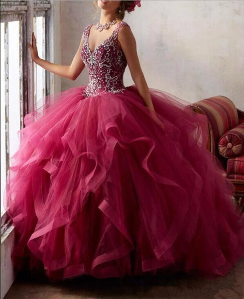 V Neck Tulle Ruffles Ball Gown Quinceanera Dresses Beaded Top Layered Hollow Back Floor Length Prom Party Dresses Girl Pageant Gowns
