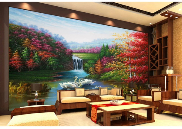 Customized Retail Swan Lake Happiness Love Oil Painting TV Background Wall Couple Swan In The Quiet Mountain Red Leaf Fire Mural