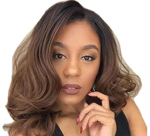 Ombre # 1b / 27 шнурка человеческих волос парики Dark Roots Honey Blonde 150 Плотности Pre щипковый Короткий Боб парик Remy для чернокожих женщин