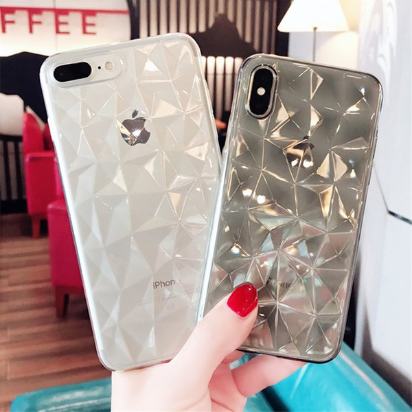 3D Diamond Texture Cas Pour IPhone XR XS MAX 6 6 s 7 8 Plus X Couverture de Téléphone Souple De Luxe Géométrique Transparent Losange Ultra Mince Coque