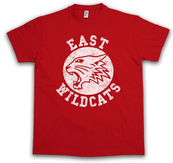 EAST WILDCATS T-SHIRT High School Basketball Wild Musical Cats Team Logo Symbolwhite black grey red trousers tshirt