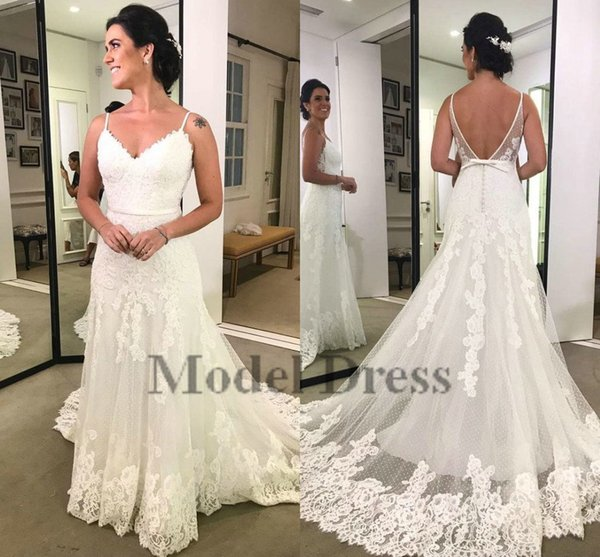 2018 Fashionable Spaghetti Straps Wedding Dresses Mermaid Lace Appliques Sweetheart Open Back Sweep Train Modest Bridal Gowns Made in China