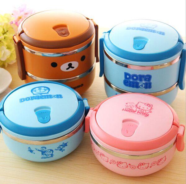 Lunch Box Rilakkuma ein / zwei Schichten thermische Bento Thermos für Lebensmittel Edelstahl Isolierung Storage Container Geschirr Sets
