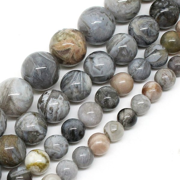 Natural Bamboo Agata Onyx Round Loose Beads For Jewelry Making 15.5inch/strand Pick Size 6/8/10/12mm DIY Bracelet