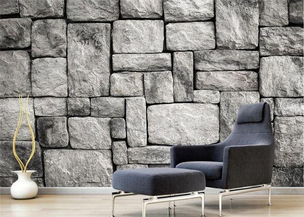 Custom Wallpaper Living Room Bedroom Background 3d Wallpaper Gray European Style Stone Brick Wall Background Wallpaper Hd Resolution Desktop