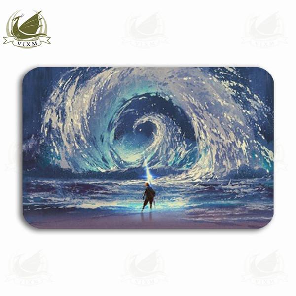 Vixm Sky Digital Art Style Illustration Painted Round Sea Welcome Door Mat Rugs Flannel Anti-slip Entrance Indoor Kitchen Bath Carpet