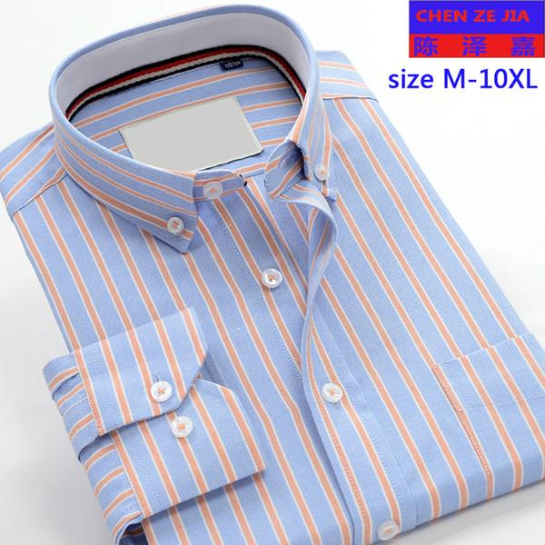 Chegada nova moda Oxford Mens manga longa de alta qualidade Camisas listradas outono formal muito grande grande plus size M-9XL10XL