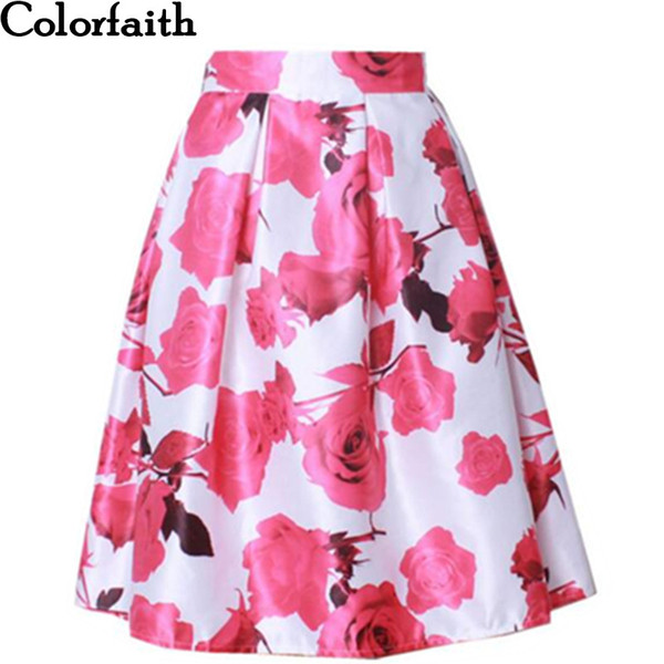 Wholesale-New 2016 Spring Satin Skirt Womens Fall Vintage Rose Floral Painting  Printed Ball Gown Pleated High Waist Midi Skirt Saia SK033 86ef8f7c3320
