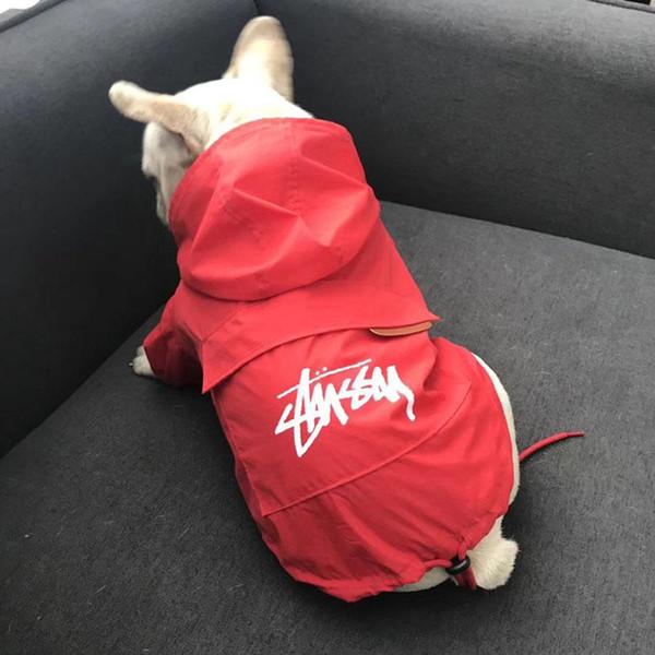 Pet Nützliche Regenmäntel Little Teddy Puppy Schnauzer Apparel Outwears Flut Marke Outwear Hund Kapuzenmantel Schwarz Rot Sonnencreme