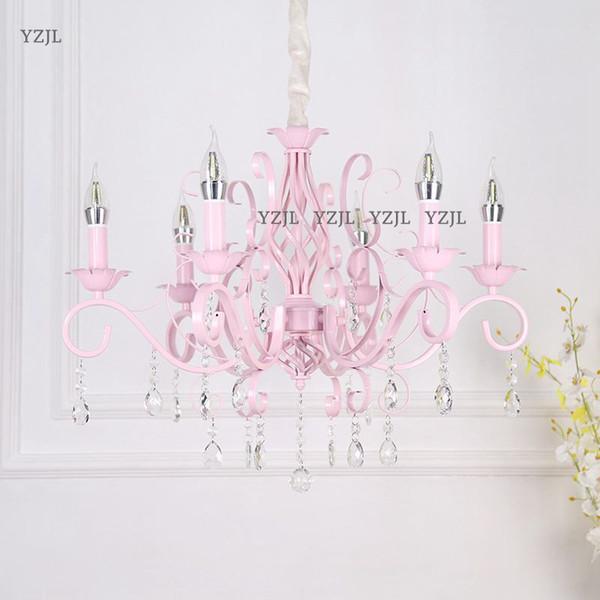 Lámpara de vela de cristal chandeliet Princess room pink girl romantic Wedding chandelier Garden Guest Restaurant lámpara de araña de dormitorio