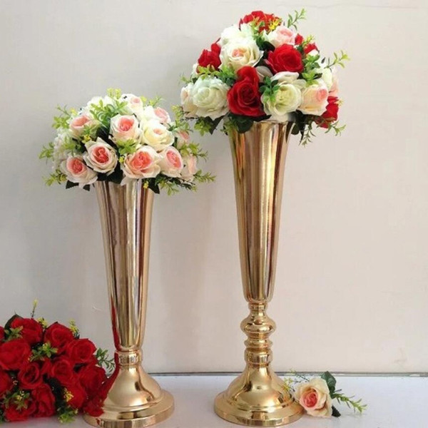 sliver Tabletop Vase Metal Flower Vase Table Centerpiece For Mariage Metal Flowers Vases For Wedding Decoration