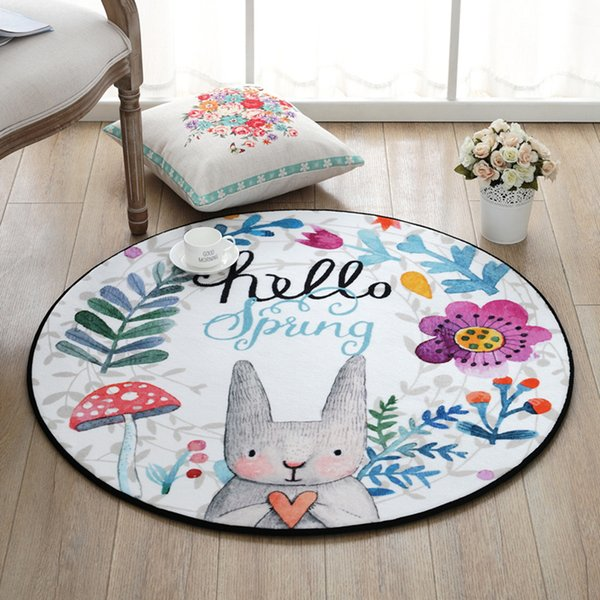Cartoon Rabbit Round Anti-slip Carpet 60Cm Computer-chair Mat Hanging basket Carpet Bed room Door Mat Bath room Shower Mat