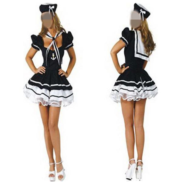 Frauen Erwachsene Mädchen Sexy Beruf Sailor Kostüme Marine Blau Mädchen Kostüme Kleid Set Halloween Kleid