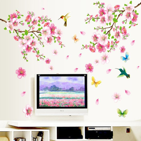 large elegant flower wall stickers Peach flower graceful birds wall stickers romantic decoration Living Room