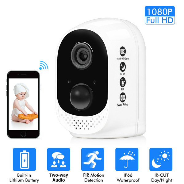 Wifi Battery Security IP Camera 1080P Rechargeable Battery Powered HD Wireless Home Safety CCTV Camera PIR Alarm