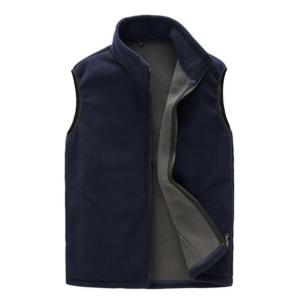 Autumn Travel Leisure Thermal Fleece Vest Men Sleeveless Casual Bodywarmer Waistcoat Full Zip Outdoors Gilet Colete