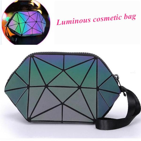 Holográfica Luminosa Bolsa Reflexiva Malha Projeto Geométrico Saco Dobrável Maquiagem Saco de PU Pulseira de Couro Bolsa de Telefone Celular de Embreagem 0338