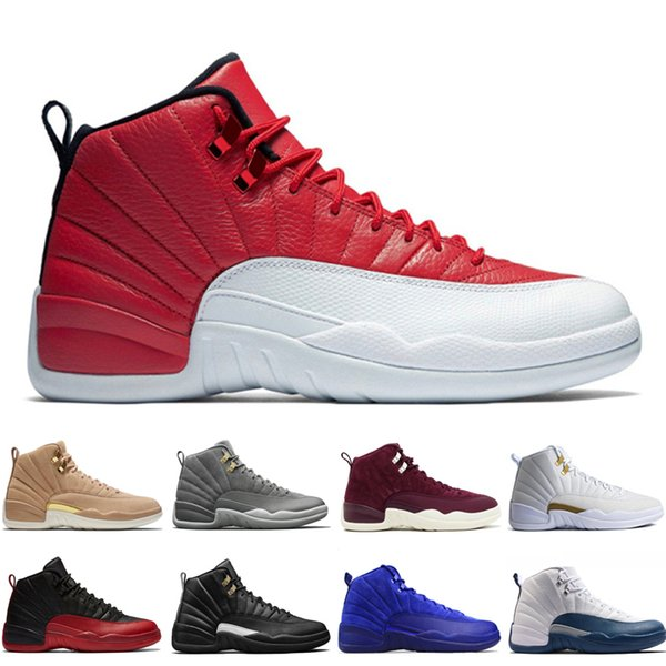 12 12s men basketball shoes Wheat Dark Grey Bordeaux Flu Game The Master Taxi Playoffs Wool Barons Gym Red Royal Blue Suede Sports sneakers