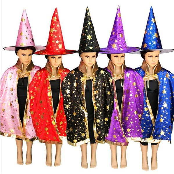 Kids Halloween Party Five-star Cloak Cap Set Children Magician Witch Cosplay Performance Cloak Hat Props Red Black Blue Pink Yellow Purple