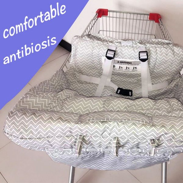 Fish Gray Baby Shopping Cart Trolley Cart Seat Pad Child High Chair Protector Foldable cushion Stripe D