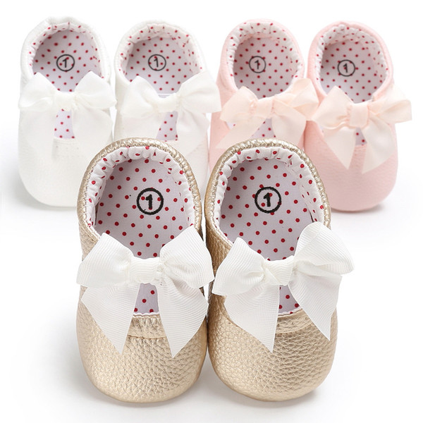 New Style Newborn Baby Girl PU Leather Princess Shoes Bowknot Rubber Soled Baby Soft PU Sole Princess-shoes 3 Colors G131Q