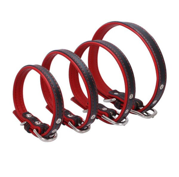High quality Leather Puppy Collar Safety Neck Buckle Strap Adjustable dog collar XS S M L XL 7 colors